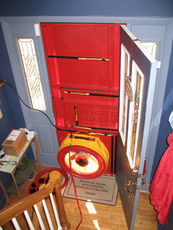 Blower door test for Grand Rapids homes